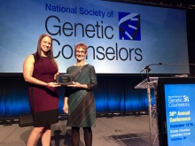 Dee Quinn receives the Janus Lectureship at the 2017 meeting of the National Society of Genetic Counselors.